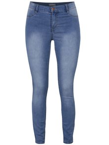 Modré skinny džíny s opraným efektem Dorothy Perkins