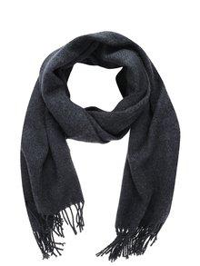 Eșarfă tricotată gri închis cu franjuri Pieces Kial