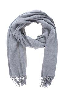 Eșarfă tricotată gri deschis cu franjuri Pieces Kial