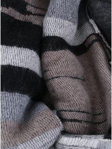 Eșarfă tricotată gri & bej cu dungi și franjuri Pieces Jade