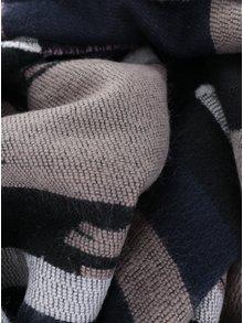 Modro-béžový vzorovaný šál so strapcami Pieces Jade