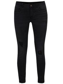 Černé skinny džíny s potrhaným efektem ONLY Kendell