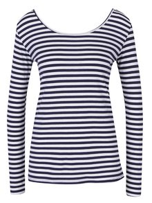 Krémovo-modré pruhované tričko s pásikmi na chrbte a dlhým rukávom ZOOT