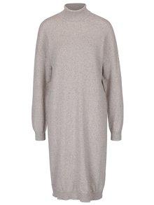Béžové melírované šaty s rolákom Noisy May Momo