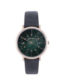 Pozlátené hodinky v ružovozlatej farbe s koženým remienkom Pilgrim
