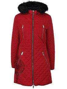 Červený obojstranný dlhý kabát s kožúškom Desigual Azul