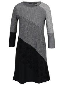 Čierno-sivé pruhované šaty s 3/4 rukávmi Desigual Amber