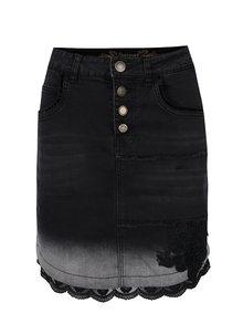 Sivo-čierna rifľová sukňa s detailmi Desigual Blanche
