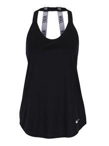 Čierne dámske funkčné tielko s pásikmi na chrbte Nike