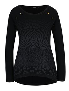 Čierny vzorovaný sveter Desigual Gaea