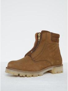 Hnedé kožené členkové topánky Pieces Pamelina