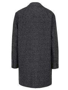 Tmavě šedý kostkovaný kabát s ozdobou ONLY Jenny