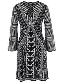 Čierno-biele vzorované šaty s dlhým rukávom Desigual Hayley