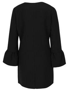 Černý kabát s volánovými rukávy ONLY Chai