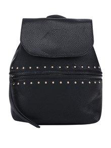 Černý koženkový batoh s detaily ve zlaté barvě Pieces Nabo
