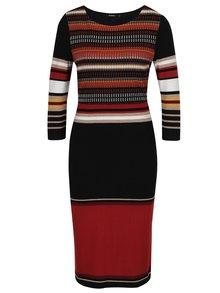 Černé pruhované šaty s 3/4 rukávy Desigual Pretty