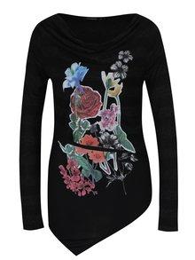Čierne pruhované tričko s dlhým rukávom a potlačou Desigual Silvia