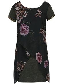 Rochie verde închis asimetrică cu imprimeu floral - Desigual Kina