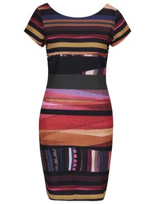 Čierne pruhované šaty s krátkym rukávom Desigual Second