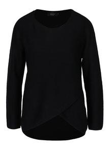 Černý žebrovaný lehký svetr s překřížením ONLY Pi