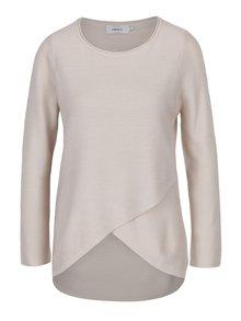 Krémový žebrovaný lehký svetr s překřížením ONLY Pi