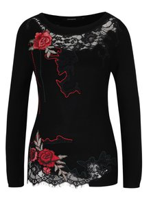 Čierny sveter s čipkovaným zdobením Desigual Sorpresa