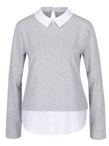 Sivý melírovaný top so všitou košeľou ONLY Cally