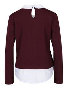 Vínový top se všitou košilí ONLY Cally