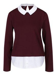Vínový top so všitou košeľou ONLY Cally
