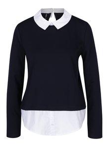 Tmavě modrý top se všitou košilí ONLY Cally