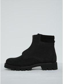 Čierne kožené členkové topánky Pieces Pamelina