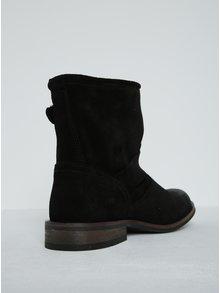 Čierne semišové členkové topánky s prackami Pieces Petti
