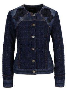 Modrá rifľová bunda s detailmi Desigual Exotic Tweed