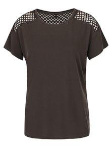 Kaki tričko so sieťovanými detailmi ONLY Haly