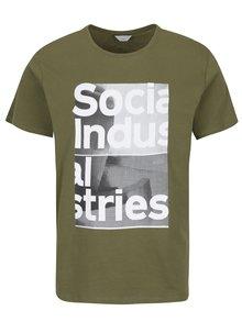 Tmavě zelené tričko s potiskem Jack & Jones Carlos