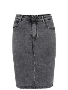 Tmavě šedá žíhaná pouzdrová džínová sukně ONLY Rain