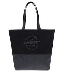 Černý shopper s koženými uchy Superdry