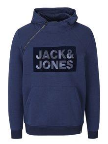 Modrá mikina s asymetrickým zapínáním Jack & Jones Kalvo