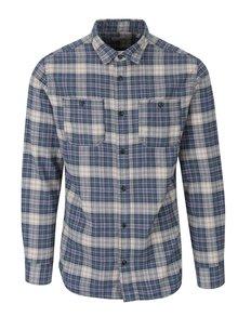 Krémovo-modrá kostkovaná košile s kapsami Jack & Jones Sparks