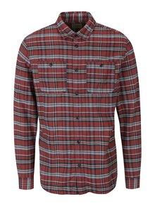 Krémovo-cihlová kostkovaná košile s kapsami Jack & Jones Sparks