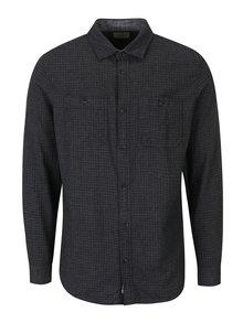 Tmavě šedá kostkovaná slim fit košile s náprsními kapsami Jack & Jones Corey