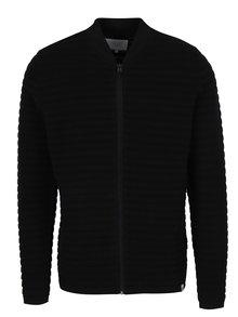 Čierny rebrovaný sveter na zips Jack & Jones Hugo