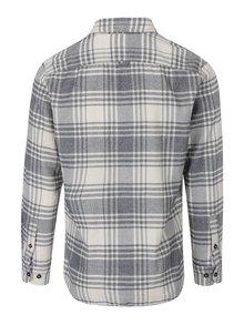 Krémová kockovaná slim košeľa s náprsnými vreckami Jack & Jones Corey