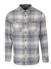 Krémová kostkovaná slim košile s náprsními kapsami Jack & Jones Corey
