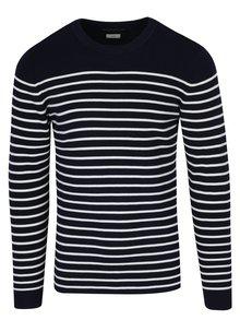 Pulover bleumarin cu dungi crem Jack & Jones Sailor