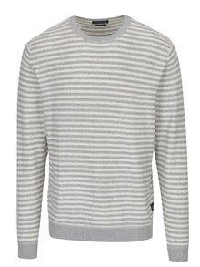 Krémovo-sivý pruhovaný sveter Jack & Jones Wall