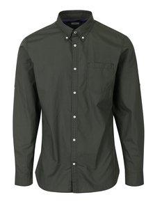 Kaki slim fit košeľa s jemným vzorom Jack & Jones Bosco