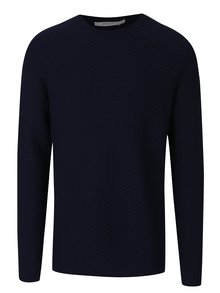 Tmavomodrý sveter s jemným vzorom Jack & Jones Brick