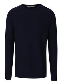 Tmavě modrý svetr s jemným vzorem Jack & Jones Brick