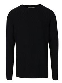 Čierny sveter s jemným vzorom Jack & Jones Brick